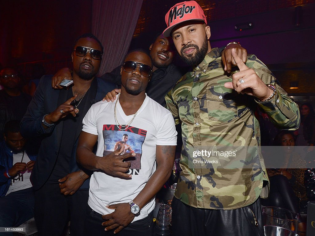 Kevin Hart, Wale and Kenny Burns attend the GREY GOOSE Hosted After Party for Trey Songz at Greystone Manor Supperclub on February 10, 2013 in West Hollywood, California.