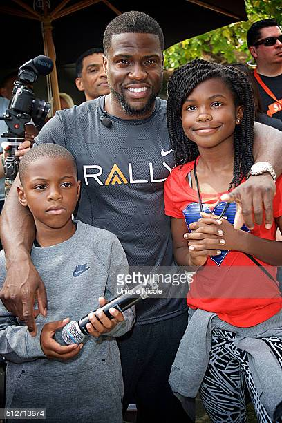 Kevin Hart with his children Heaven Lee and Hendrix Hart at Rally HealthFest at The Grove on February 27 2016 in Los Angeles California