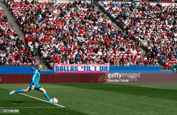 Kevin Hartman of the FC Dallas kicks the ball back into play during the second half of a soccer game against the New York Red Bulls at FC Dallas...