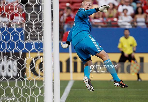 Kevin Hartman of the FC Dallas watches a shot sail wide of the net during the second half of a soccer game against the Colorado Rapids at FC Dallas...