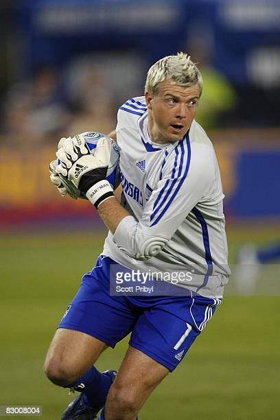 Kevin Hartman of the Kansas City Wizards catches the ball against Toronto FC during the game at Community America Ballpark on September 20 2008 in...