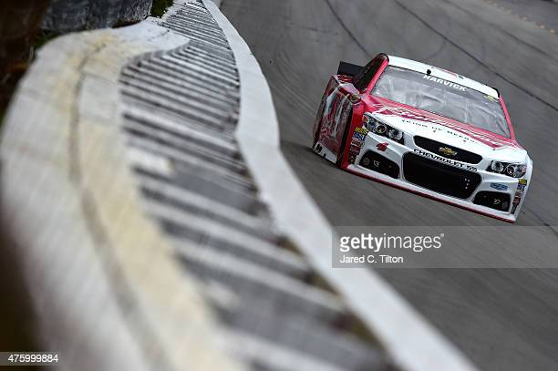 Kevin Harvick driver of the Budweiser/Jimmy John's Chevrolet practices for the NASCAR Sprint Cup Series Axalta We Paint Winners 400 at Pocono Raceway...