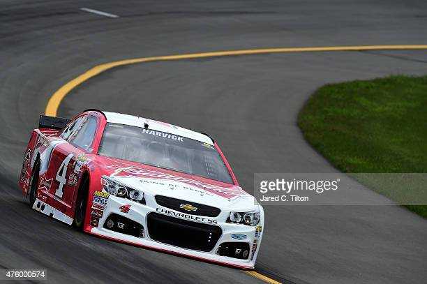 Kevin Harvick driver of the Budweiser/Jimmy John's Chevrolet practices for the NASCAR Sprint Cup Series Axalta 'We Paint Winners' 400 at Pocono...