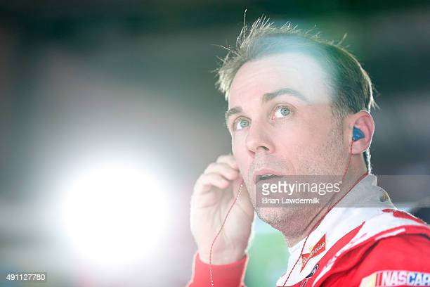 Kevin Harvick driver of the Budweiser/Jimmy John's Chevrolet prepares to drive during practice for the NASCAR Sprint Cup Series AAA 400 at Dover...