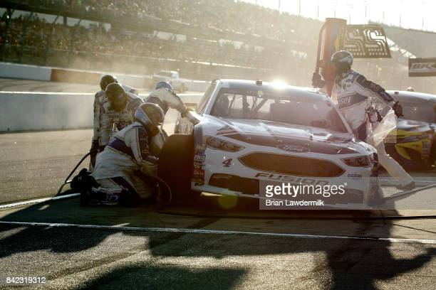 Kevin Harvick driver of the Busch Beer Throwback Ford pits during the Monster Energy NASCAR Cup Series Bojangles' Southern 500 at Darlington Raceway...