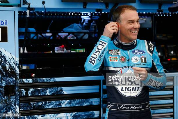 Kevin Harvick, driver of the Busch Light Ford, during practice for the NASCAR Cup Series at Las Vegas Motor Speedway on February 21, 2020 in Las...