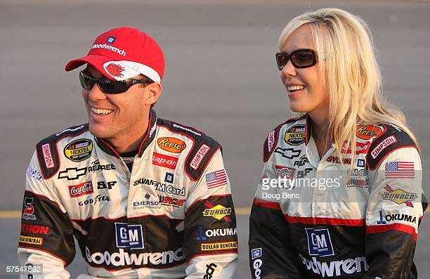 Kevin Harvick, driver of the GM Goodwrench Chevrolet car, looks on along with his wife DeLana Harvick prior to the start of the NASCAR Nextel Cup...