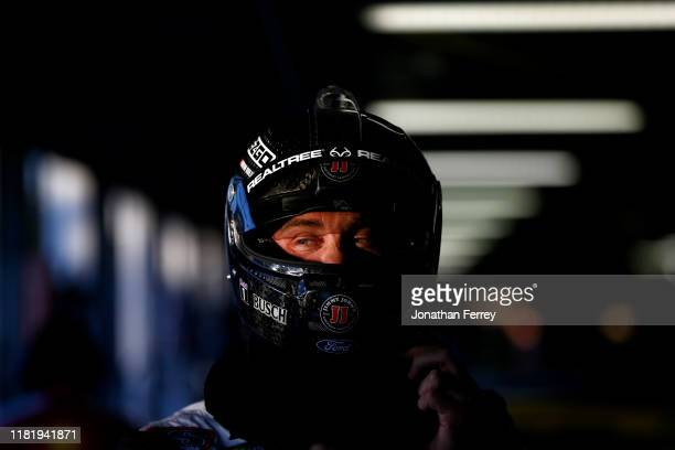 Kevin Harvick driver of the Jimmy John's 3 Dollar Little John Ford waits in the garage during practice for the Monster Energy NASCAR Cup Series...