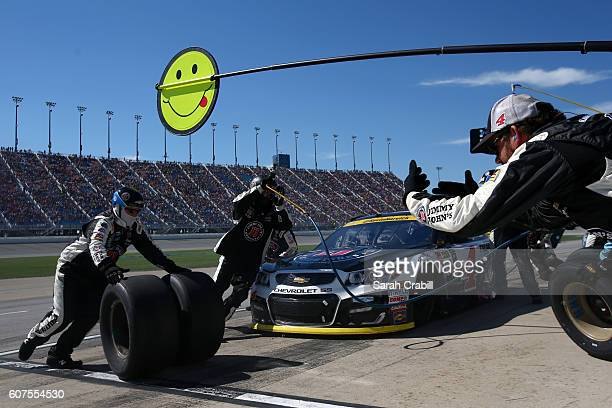 Kevin Harvick driver of the Jimmy John's Chevrolet pits during the NASCAR Sprint Cup Series Teenage Mutant Ninja Turtles 400 at Chicagoland Speedway...