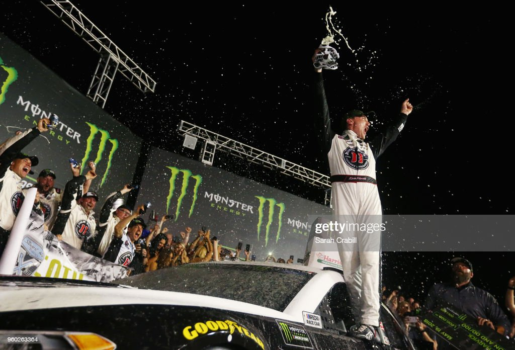 Kevin Harvick, driver of the #4 Jimmy John's Ford, celebrates in Victory Lane after winning the Monster Energy NASCAR Cup Series All-Star Race at Charlotte Motor Speedway on May 19, 2018 in Charlotte, North Carolina.