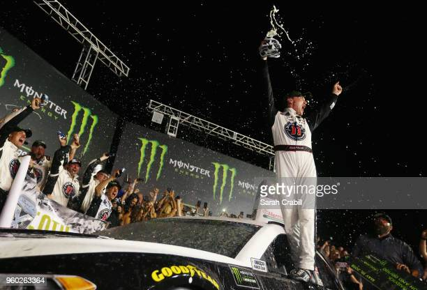 Kevin Harvick driver of the Jimmy John's Ford celebrates in Victory Lane after winning the Monster Energy NASCAR Cup Series AllStar Race at Charlotte...