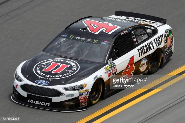 Kevin Harvick driver of the Jimmy John's Ford drives during practice for the Monster Energy NASCAR Cup Series 59th Annual DAYTONA 500 at Daytona...