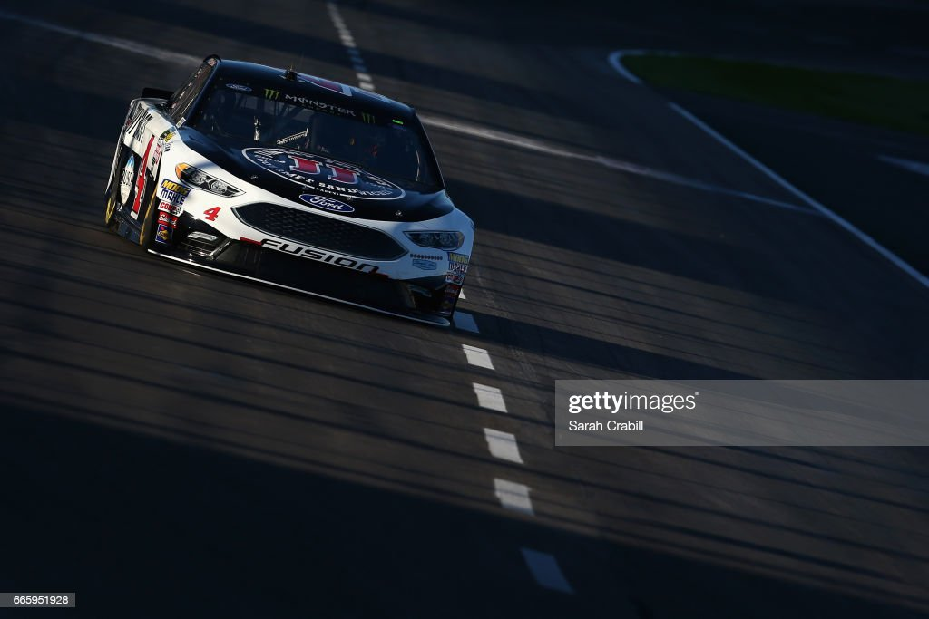 Kevin Harvick, driver of the #4 Jimmy John's Ford, drives during qualifying for the Monster Energy NASCAR Cup Series O'Reilly Auto Parts 500 at Texas Motor Speedway on April 7, 2017 in Fort Worth, Texas.