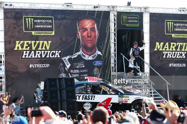 Kevin Harvick driver of the Jimmy John's Ford greets fans during driver introductions for the Monster Energy NASCAR Cup Series Championship Ford...