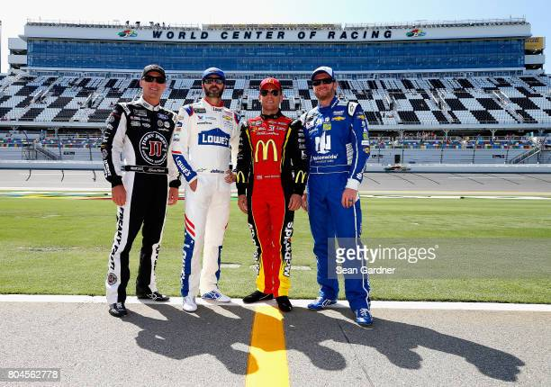 Kevin Harvick driver of the Jimmy John's Ford Jimmie Johnson driver of the Lowe's Chevrolet Jamie McMurray driver of the McDonald's $1 Any Size Soft...