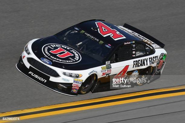 Kevin Harvick driver of the Jimmy John's Ford Kevin Harvick drives during qualifying for the Monster Energy NASCAR Cup Series 59th Annual DAYTONA 500...