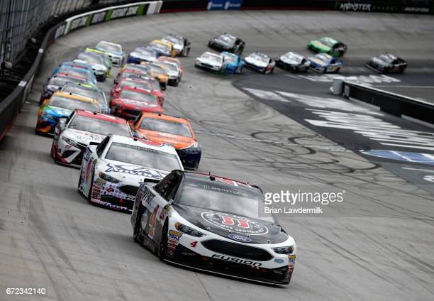 Kevin Harvick driver of the Jimmy John's Ford leads a pack of cars during the Monster Energy NASCAR Cup Series Food City 500 at Bristol Motor...