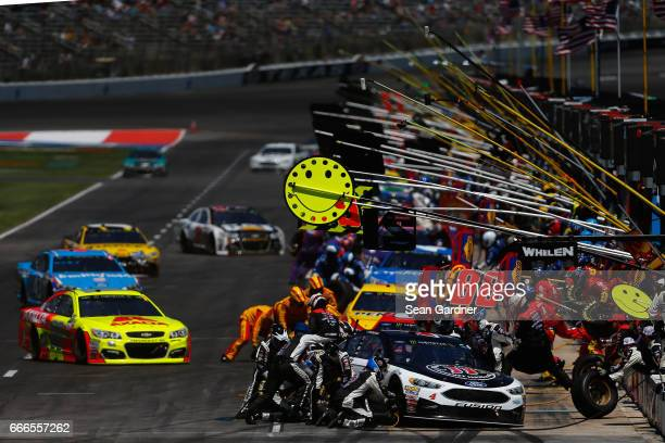 Kevin Harvick driver of the Jimmy John's Ford pits during the Monster Energy NASCAR Cup Series O'Reilly Auto Parts 500 at Texas Motor Speedway on...