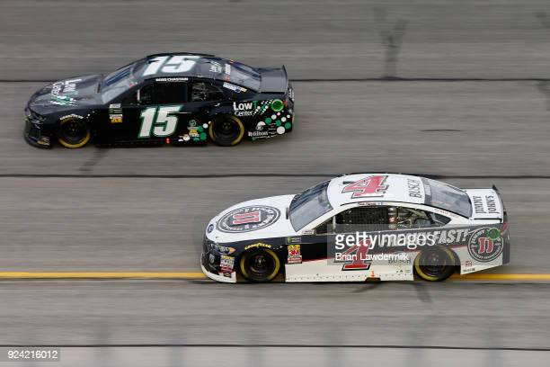 Kevin Harvick driver of the Jimmy John's Ford races Ross Chastain driver of the LowT Center Chevrolet during the Monster Energy NASCAR Cup Series...