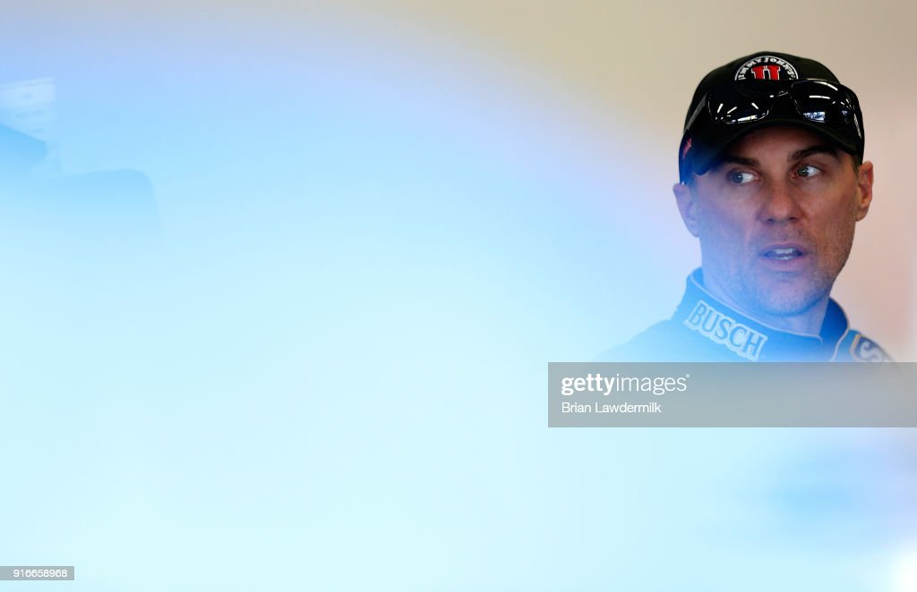 Kevin Harvick, driver of the #4 Jimmy John's Ford, stands in the garage area during practice for the Monster Energy NASCAR Cup Series Daytona 500 at Daytona International Speedway on February 10, 2018 in Daytona Beach, Florida.