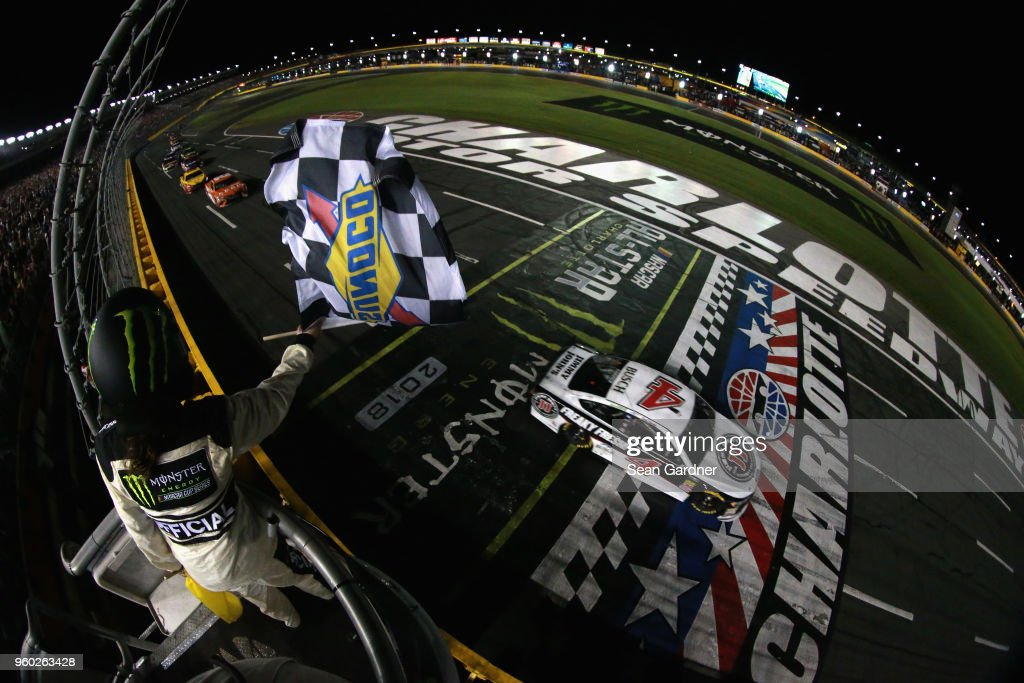 Kevin Harvick, driver of the #4 Jimmy John's Ford, takes the checkered flag to win the Monster Energy NASCAR Cup Series All-Star Race at Charlotte Motor Speedway on May 19, 2018 in Charlotte, North Carolina.