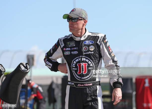 Kevin Harvick driver of the Jimmy John's Ford walks through the garage area during practice for the Monster Energy NASCAR Cup Series Championship...