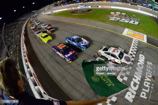 Kevin Harvick driver of the Jimmy John's New 9Grain Wheat Sub Ford leads the field to green to start the Monster Energy NASCAR Cup Series Federated...