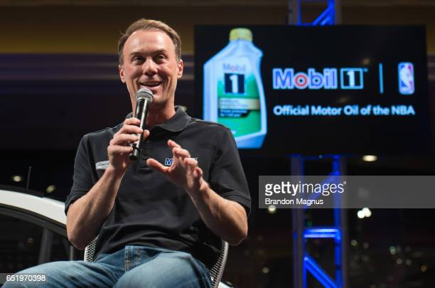 Kevin Harvick driver of the Mobil 1 Annual Protection Ford speaks to the media during the Mobil 1 Annual Protection Las Vegas Launch Event inside the...