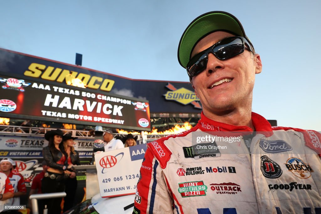 Kevin Harvick, driver of the #4 Mobil 1 Ford, celebrates in Victory Lane after winning the Monster Energy NASCAR Cup Series AAA Texas 500 at Texas Motor Speedway on November 5, 2017 in Fort Worth, Texas.
