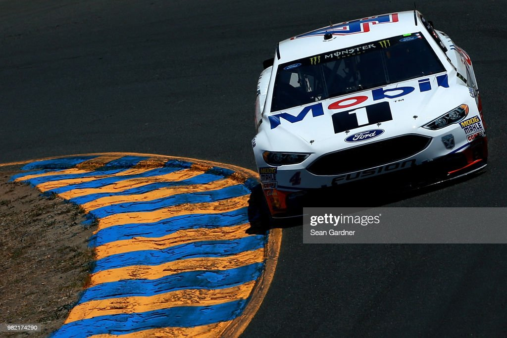 Kevin Harvick, driver of the #4 Mobil 1 Ford, drives during qualifying for the Monster Energy NASCAR Cup Series Toyota/Save Mart 350 at Sonoma Raceway on June 23, 2018 in Sonoma, California.