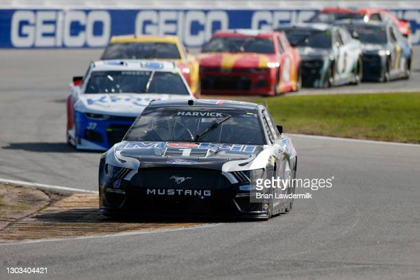 Kevin Harvick, driver of the Mobil 1 Ford, drives during the NASCAR Cup Series O'Reilly Auto Parts 253 at Daytona International Speedway on February...