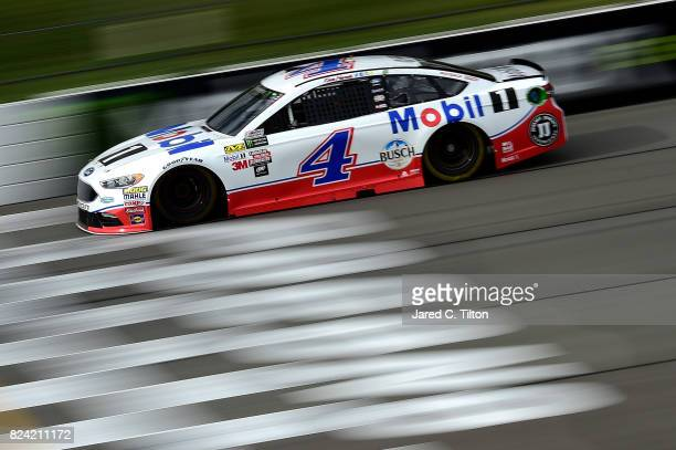 Kevin Harvick driver of the Mobil 1 Ford practices for the Monster Energy NASCAR Cup Series Overton's 400 at Pocono Raceway on July 29 2017 in Long...