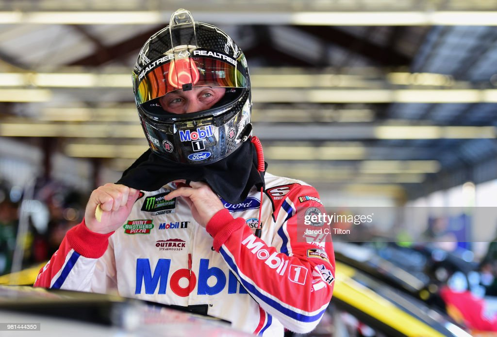 Kevin Harvick, driver of the #4 Mobil 1 Ford, prepares to practice for the Monster Energy NASCAR Cup Series Toyota/Save Mart 350 at Sonoma Raceway on June 22, 2018 in Sonoma, California.