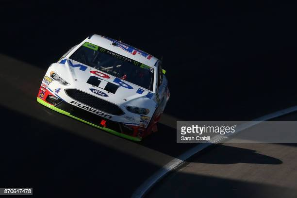 Kevin Harvick driver of the Mobil 1 Ford races during the Monster Energy NASCAR Cup Series AAA Texas 500 at Texas Motor Speedway on November 5 2017...