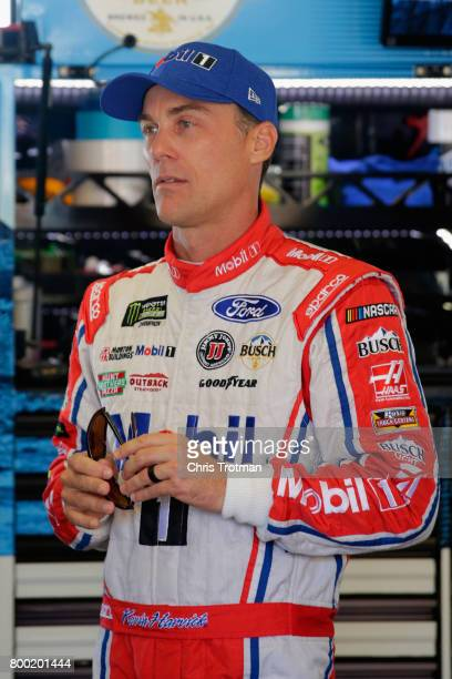 Kevin Harvick driver of the Mobil 1 Ford stands in the garage during practice for the Monster Energy NASCAR Cup Series Toyota/Save Mart 350 at Sonoma...
