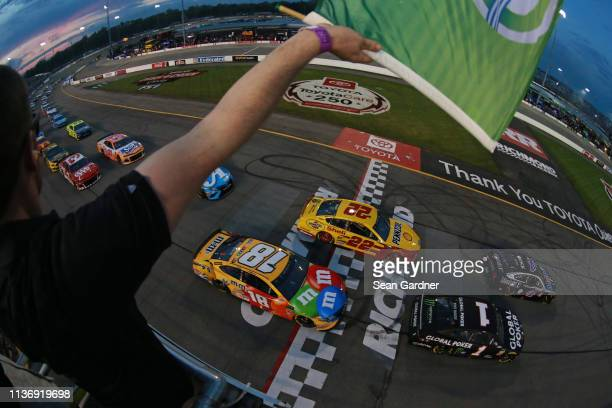 Kevin Harvick driver of the Mobil 1 Ford takes the green flag to start the Monster Energy NASCAR Cup Series Toyota Owners 400 at Richmond Raceway on...