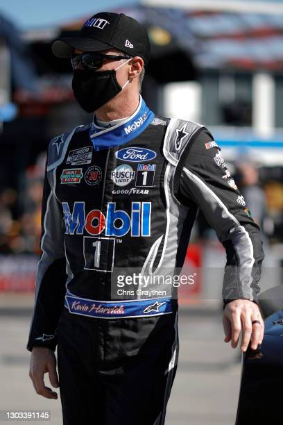 Kevin Harvick, driver of the Mobil 1 Ford, waits on the grid prior to the NASCAR Cup Series O'Reilly Auto Parts 253 at Daytona International Speedway...