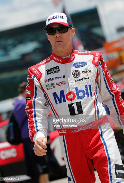 Kevin Harvick driver of the Mobil 1 Ford walks to his car during practice for the Monster Energy NASCAR Cup Series CocaCola 600 at Charlotte Motor...