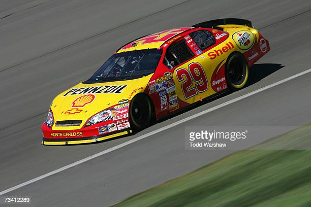 Kevin Harvick, driver of the Shell/Pennzoil Chevrolet, drives during practice for the NASCAR Nextel Cup Series Auto Club 500 at California Speedway...