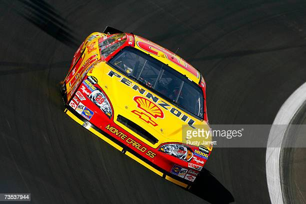 Kevin Harvick driver of the Shell/Pennzoil Chevrolet drives during practice for the NASCAR Nextel Cup Series UAWDaimlerChrysler 400 at Las Vegas...