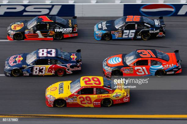 Kevin Harvick, driver of the Shell/Pennzoil Chevrolet, drives during the NASCAR Sprint Cup Series Amp Energy 500 at Talladega Superspeedway on...