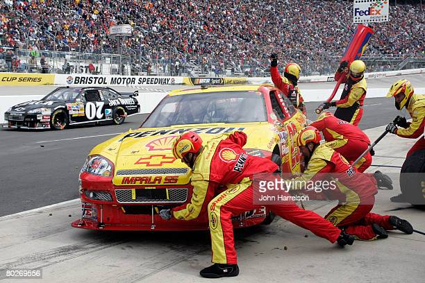 Kevin Harvick driver of the Shell/Pennzoil Chevrolet pits during the NASCAR Sprint Cup Series Food City 500 at the Bristol Motor Speedway on March 16...