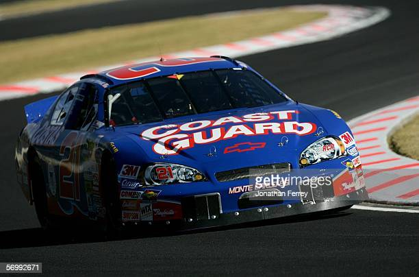 Kevin Harvick drives the Coast Guard Chevrolet during practice for the NASCAR Busch Series Telcel-Motorola 200 on March 3, 2006 at Autodromo Hermanos...