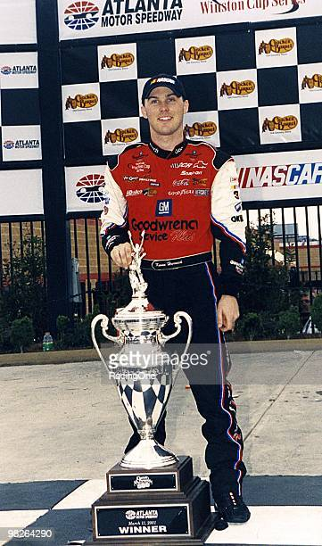Kevin Harvick enjoys his first NASCAR Cup win following the Cracker Barrel Old Country Store 500 at Atlanta Motor Speedway.