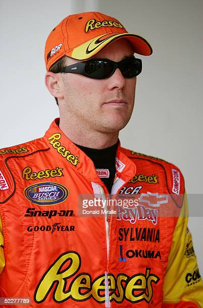 Kevin Harvick of the USA looks on before entering his Pelon Pelo Rico Chevrolet Monte Carlo during the practice for the Telcel Mexico 200 Nascar...