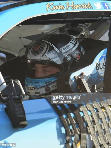 Kevin Harvick StewartHaas Racing Busch Beer Ford Fusion sits in his car during practice for the Monster Energy Cup Series Food City 500 on April 14...