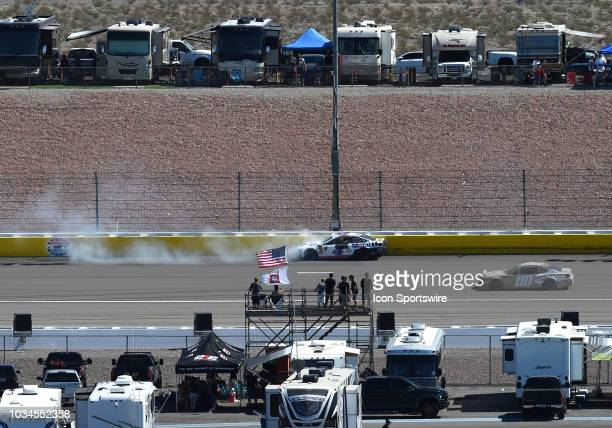 Kevin Harvick StewartHaas Racing Ford Fusion comes to a stop on the Nellis Straightaway after crashing in turn two during the Monster Energy NASCAR...