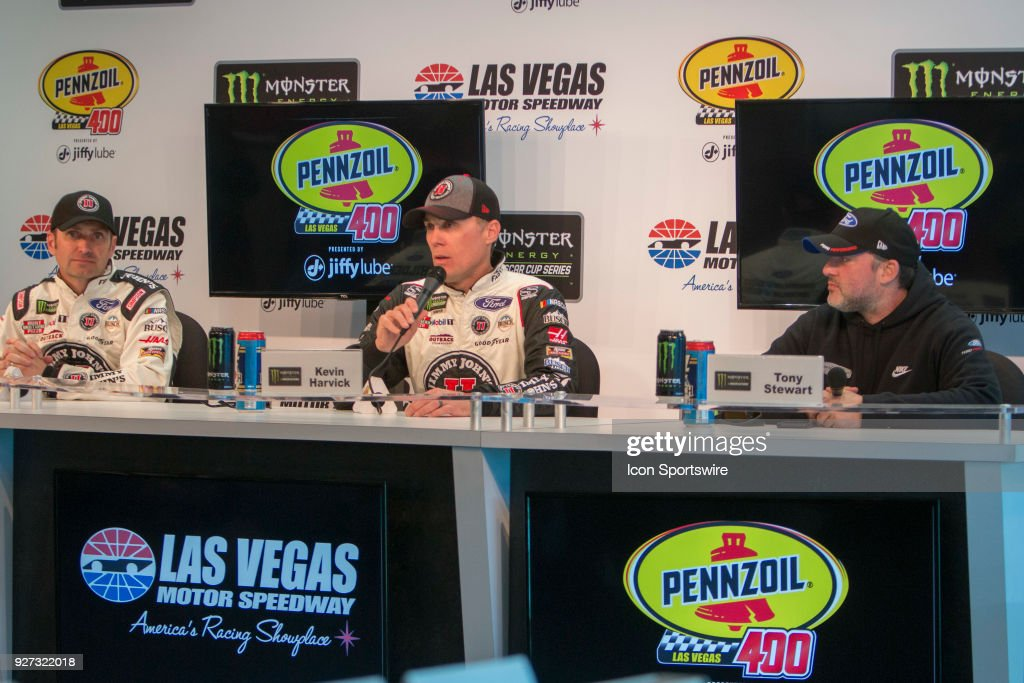 Kevin Harvick (4) Stewart-Haas Racing Ford Fusion press conference after the Pennzoil 400 Monster Energy NASCAR Cup Series race on March 4, 2018 at Las Vegas Motor Speedway in Las Vegas, Nevada.