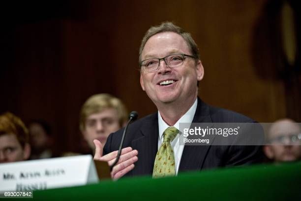 Kevin Hassett chairman of the Council of Economic Advisers nominee for US President Donald Trump speaks during a Senate Banking Committee nomination...