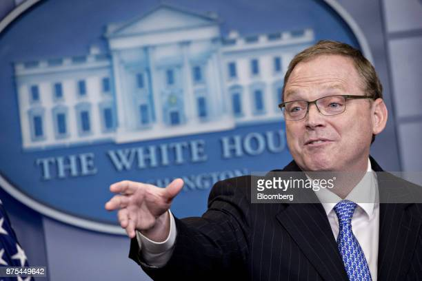 Kevin Hassett chairman of the Council of Economic Advisors speaks during a White House press briefing in Washington DC US on Friday Nov 17 2017...
